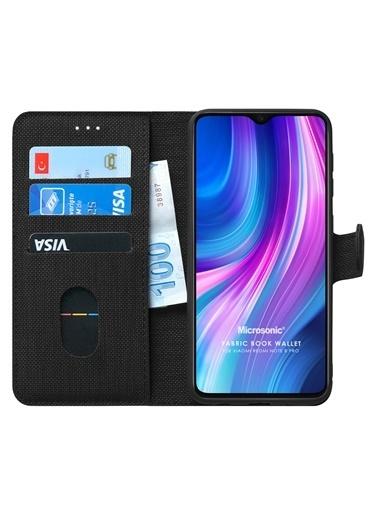 Microsonic Redmi Note 8 Pro Kılıf Fabric Book Wallet Siyah Siyah